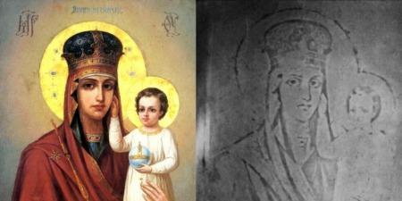 Малюючи образ, черниця нічого не їла, окрім Святого Причастя, потім перед образом зцілилася глухоніма дівчинка. Вона вказала на ікону, і сказала що тьотя на неї дмухнула.